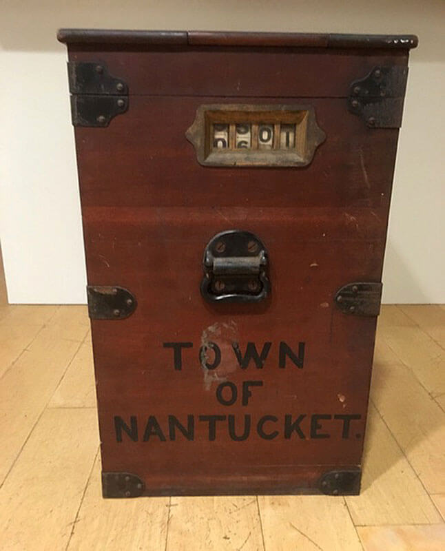 Wooden Town of Nantucket ballot box with metal fittings.