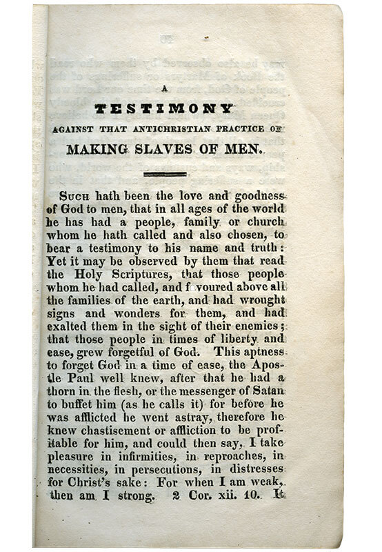 A Testimony against that Anti-Christian Practice of Making Slaves of Men