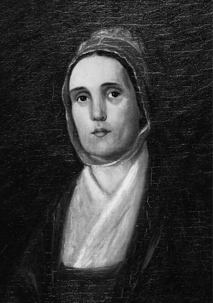 Black and white portrait of a woman, Kezia Coffin Fanning, from 18th century.
